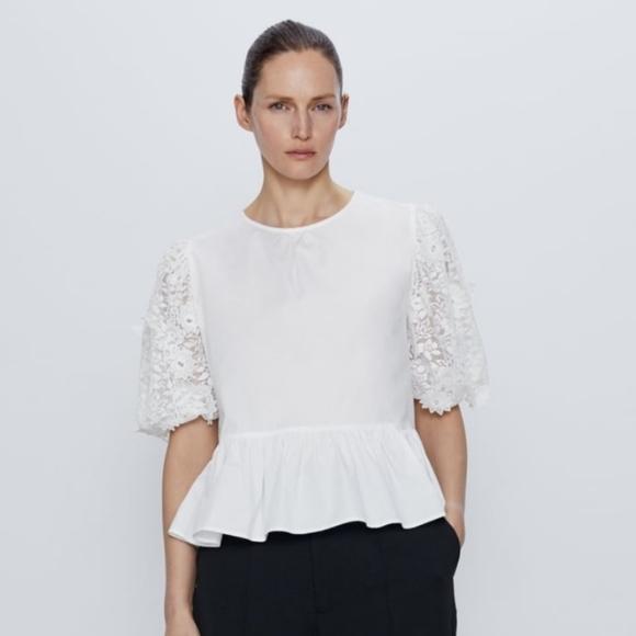 Zara combination sleeve poplin blouse